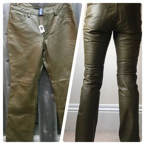 NEW GAP OLIVE GREEN LEATHER BOOT CUT PANTS